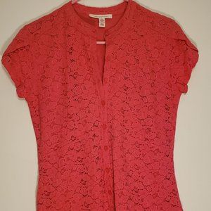 JM Collection Pink Lace Button Up Blouse / Small